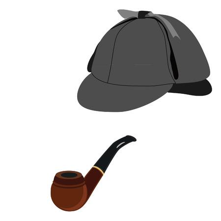 Detective  sherlock holmes hat and smoking pipe vector isolated, grey hat , deerstalker hat