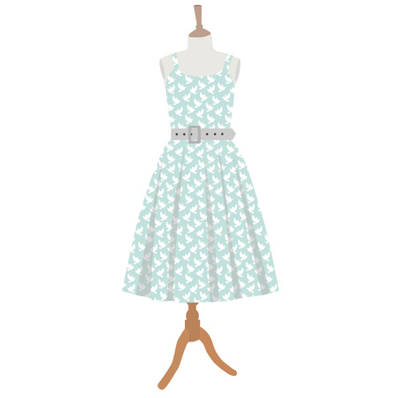 Blue dress with white pigeon pattern  on mannequin vector isolated Vector