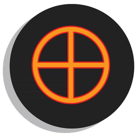 analogy: Round, black and orange earth symbol, planet symbol Illustration