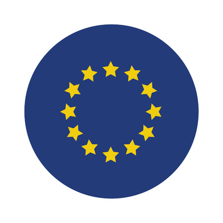 eu flag: Round european union flag vector icon isolated, european union flag button