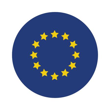 flag template: Round european union flag vector icon isolated, european union flag button