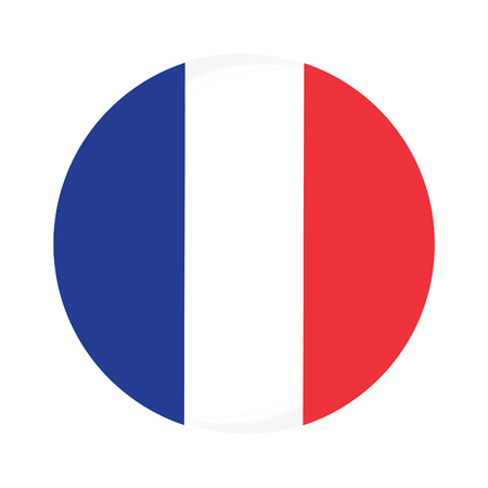 flag france: Round france flag vector icon isolated, france flag button