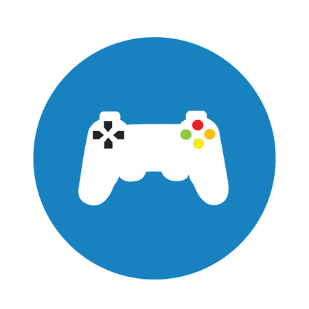 game pad: Game pad, game controller flat icon vector blue background, pictogram, video game
