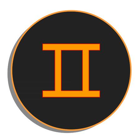 Black and orange round zodiac gemini sign, icon vector isolated