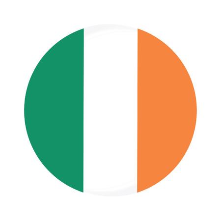 bandera irlanda: Ronda icono de la bandera de vectores irlanda aislado, bot�n de bandera de irlanda