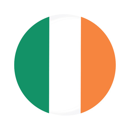 tricolors: Round ireland flag vector icon isolated, ireland flag button Illustration