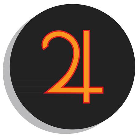 analogy: Round, black and orange jupiter symbol, planet symbol