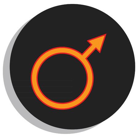 Round, black and orange mars symbol, planet symbol