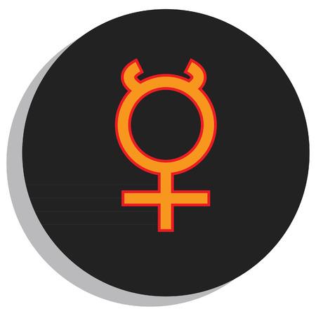 Round, black and orange mercury symbol, planet symbol