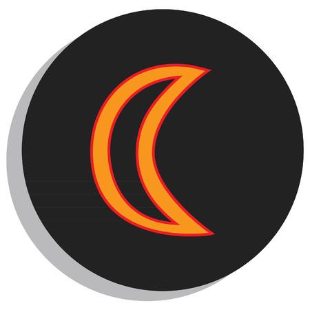 Round, black and orange moon symbol, planet symbol Ilustrace