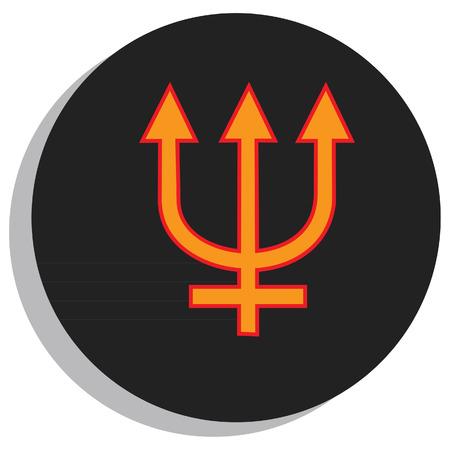 analogy: Round, black and orange neptune symbol, planet symbol