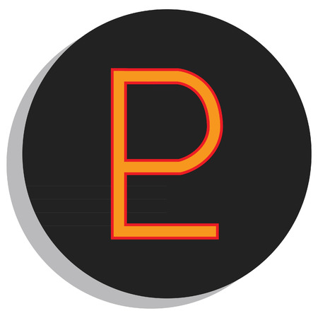 Round, black and orange pluto symbol, planet symbol