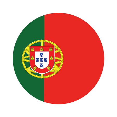 green flag: Round portugal flag vector icon isolated, portugal flag button Illustration
