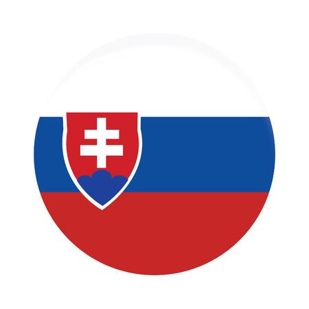 slovakia flag: Round slovakia flag vector icon isolated, slovakia flag button Illustration