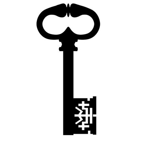 passkey: Black old key silhouette, vintage key, ancient key vector isolated