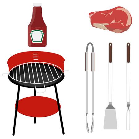 tongs: Barbacoa establecer grill, pinzas, tenedor, turner, carne ans salsa de tomate, utensilios de la parrilla aislada vector Vectores