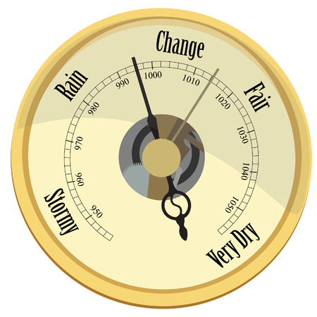 Golden barometer vector isolated rain and stormy, fair and very dry, change