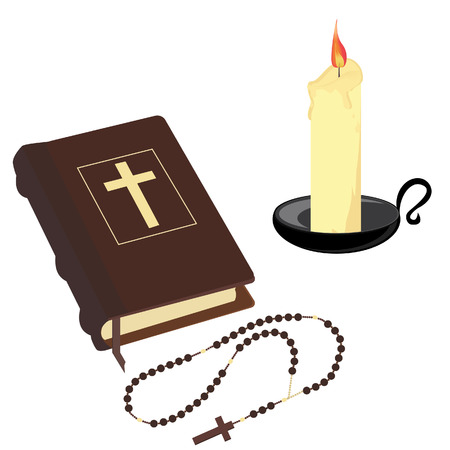 holiday prayer book: Brown closed Holy bible , rosary beads and wax candle with black holder vector icon set isolated