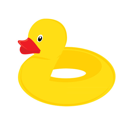 Yellow rubber duck swimming circle isolated