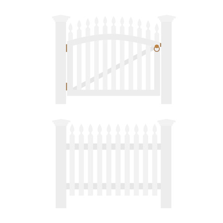 wooden fence: White wooden fence and closed garden gate isolated Illustration