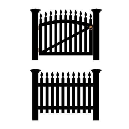 Black wooden fence and closed garden gate vector isolated