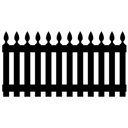 palisade: Black wooden garden fence, palisade isolated Illustration
