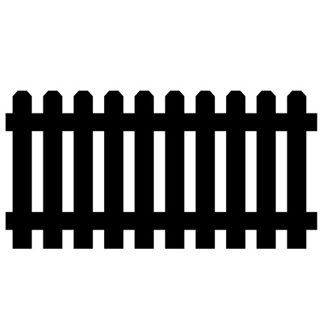 hedge: Black wooden garden fence, palisade isolated Illustration