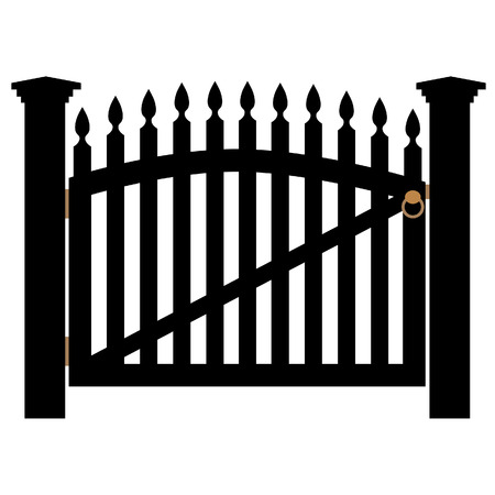 garden gate: Black wooden fence and closed garden gate with golden handle isolated