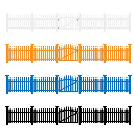 Four wooden garden fences set white, blue, orange and black