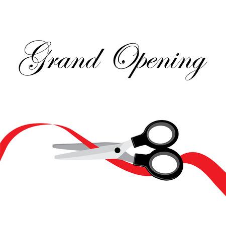 Grand opening celebration red ribbon cutting