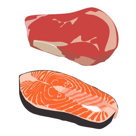 beef steak: Filete de carne cruda y pescado salm�n filete vector aislado, filete de pescado Vectores