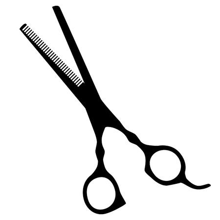 hair scissors: Black silhouette hair scissors isolated icon