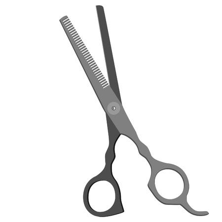 tijeras: Aislado icono gris tijeras de pelo silueta vector Vectores