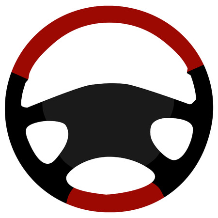 airbag: Black and red modern leather sports car steering wheel icon isolated Illustration