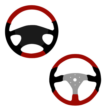 airbag: Two modern leather sports car steering wheel icon isolated