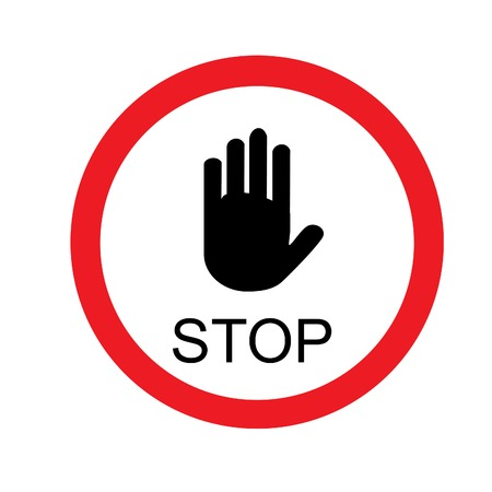 Round stop sign with hand vector isolated, road sign, red and white Illustration