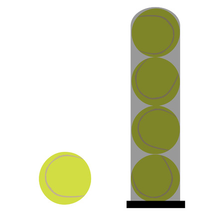 tennis ball: Tube with four yellow tennis balls  and one separate ball isolated icon, sport equipment Illustration