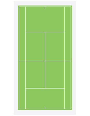 Tennis field, court with green grass isolated on white