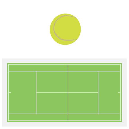 tennis net: Single yellow tennis ball and green grass tennis court, sport equipment, tennis net