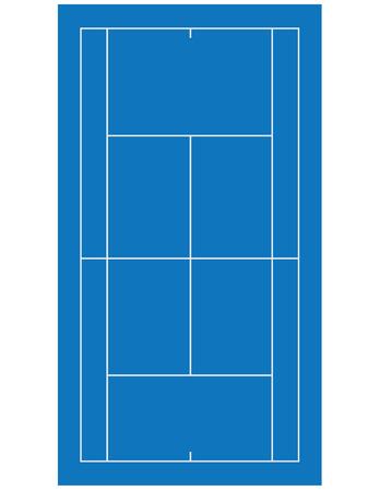 Blauwe klei tennis veld