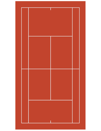 Brown clay tennis field, court isolated on white