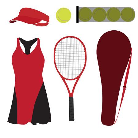 tenis: Conjunto de tenis rojo con ropa deportiva Vectores
