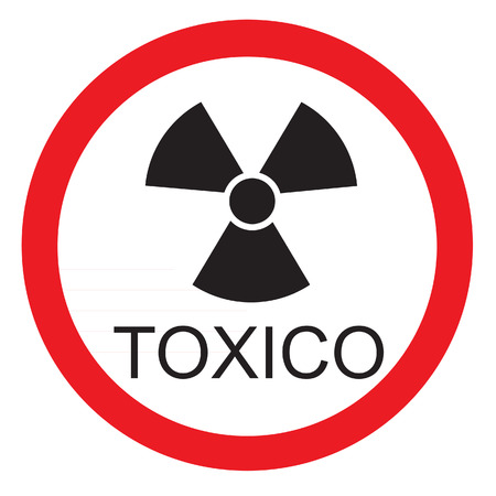 Señal de advertencia redonda con texto en español icono tóxico aislado Ilustración de vector