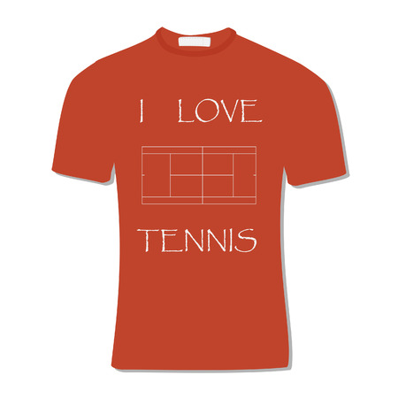 sports clothing: Orange t-shirt with text i love tennis and tennis court, field, sportswear, sports clothing