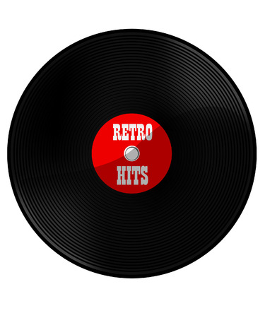 jukebox: Red vinyl record with text retro hits vector, retro music Illustration