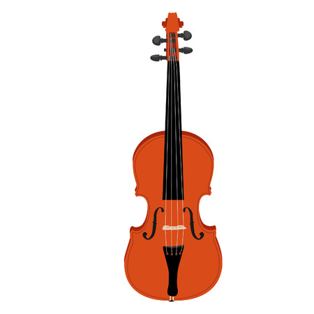 fiddlestick: Brown classical violin vector icon isolated, musical instrument