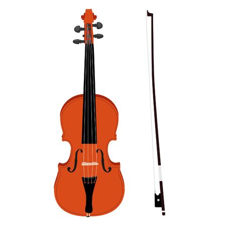 茶色の古典的なバイオリン バイオリン スティック ベクトルのアイコンを設定分離、音楽楽器