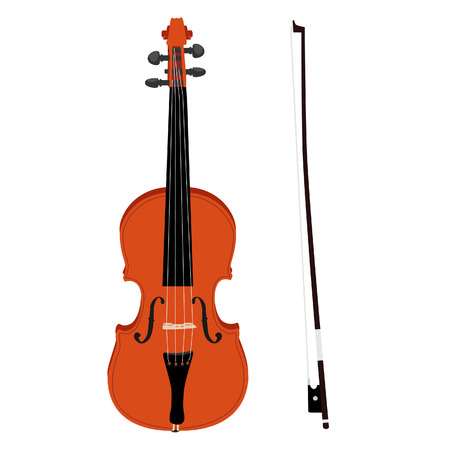 Brown classical violin with fiddle stick vector icon set isolated, musical instrument