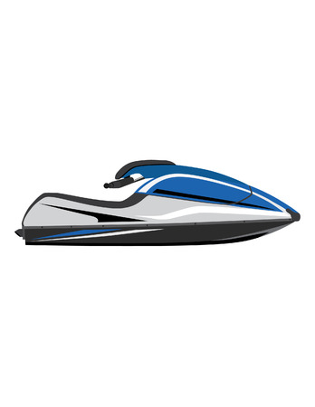 outboard: Blur water scooter vector icon isolated, extreme sport, water sport,water transport Illustration