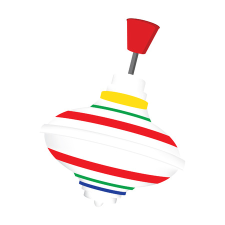 spinning top: Multicolored striped whirligig toy vector isolated, spinning top Illustration